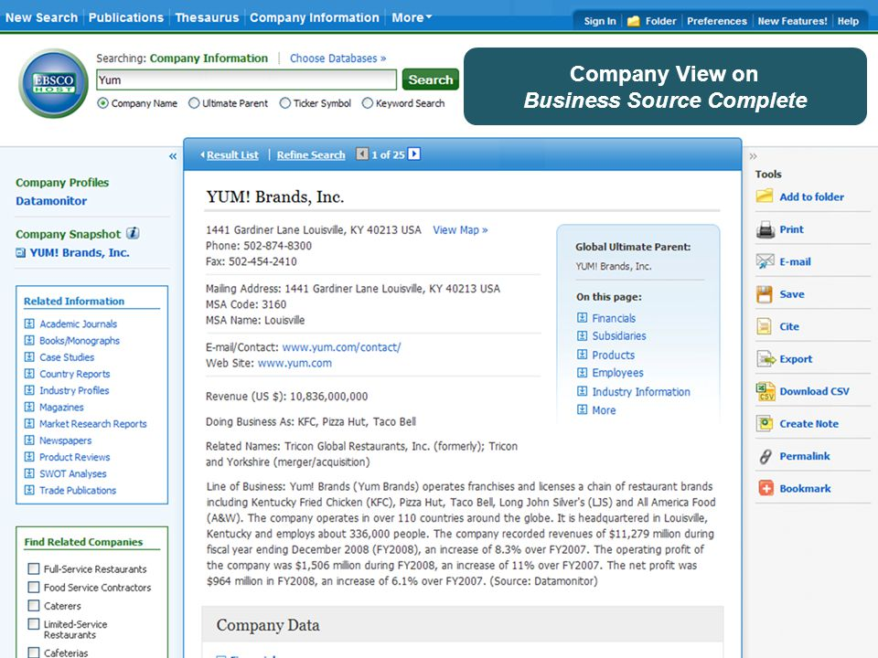Company View on Business Source Complete