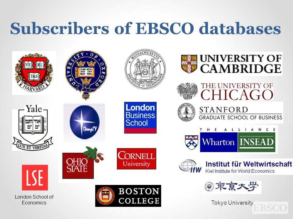 Tokyo University London School of Economics Subscribers of EBSCO databases