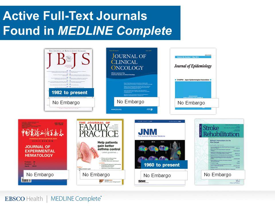 No Embargo 1982 to present 1960 to present Active Full-Text Journals Found in MEDLINE Complete