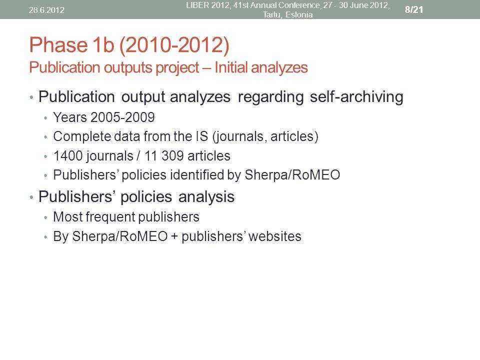 Publication output analysis 28.6.2012 LIBER 2012, 41st Annual Conference, 27 - 30 June 2012, Tartu, Estonia 9/21
