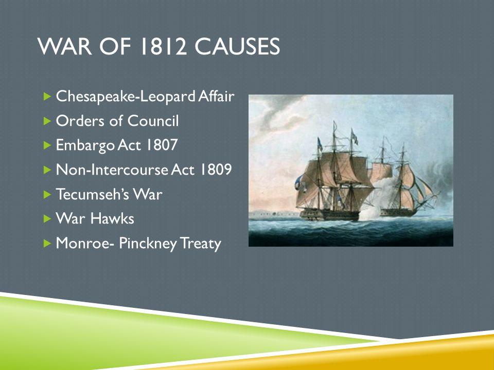 WAR OF 1812 CAUSES  Chesapeake-Leopard Affair  Orders of Council  Embargo Act 1807  Non-Intercourse Act 1809  Tecumseh's War  War Hawks  Monroe
