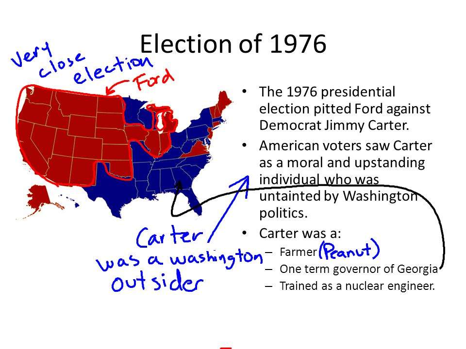 Election of 1976 The 1976 presidential election pitted Ford against Democrat Jimmy Carter. American voters saw Carter as a moral and upstanding indivi