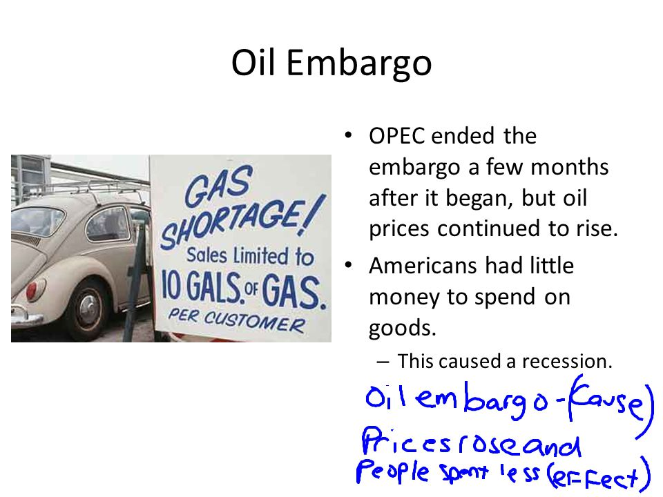 Oil Embargo OPEC ended the embargo a few months after it began, but oil prices continued to rise. Americans had little money to spend on goods. – This