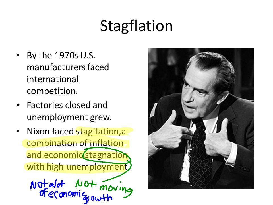 Stagflation By the 1970s U.S. manufacturers faced international competition. Factories closed and unemployment grew. Nixon faced stagflation,a combina