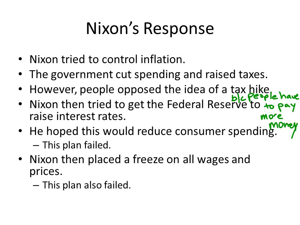 Nixon's Response Nixon tried to control inflation. The government cut spending and raised taxes. However, people opposed the idea of a tax hike. Nixon