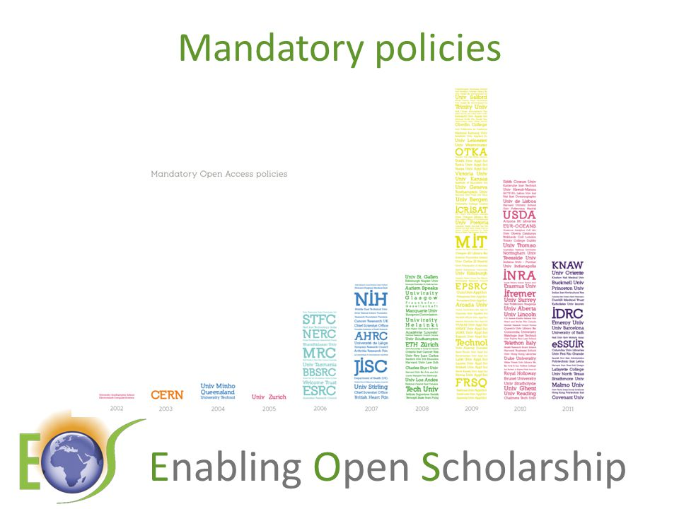 Enabling Open Scholarship Perverse consequences Subscription journals lengthen their embargoes to >6 months Subscription journals offer a Gold option = hybrid journals UK authors must pay for this No upper limit on APCs Funds will be given from RCUK to universities to administer...