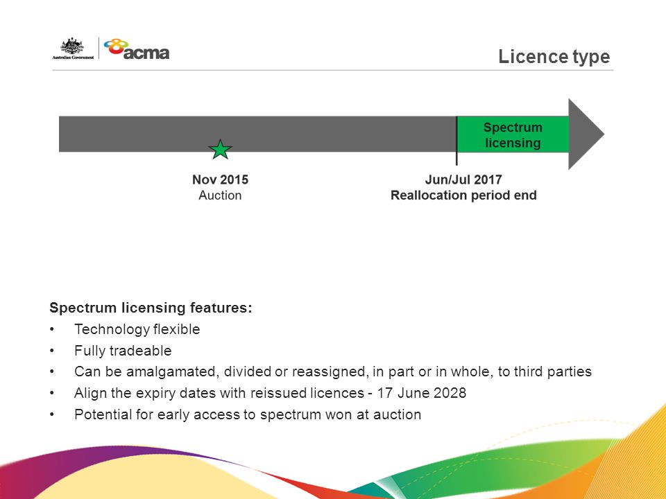 Licence type Spectrum licensing features: Technology flexible Fully tradeable Can be amalgamated, divided or reassigned, in part or in whole, to third parties Align the expiry dates with reissued licences - 17 June 2028 Potential for early access to spectrum won at auction