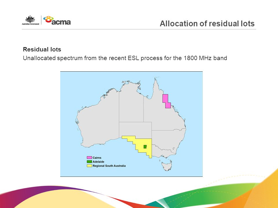 Allocation of residual lots Residual lots Unallocated spectrum from the recent ESL process for the 1800 MHz band