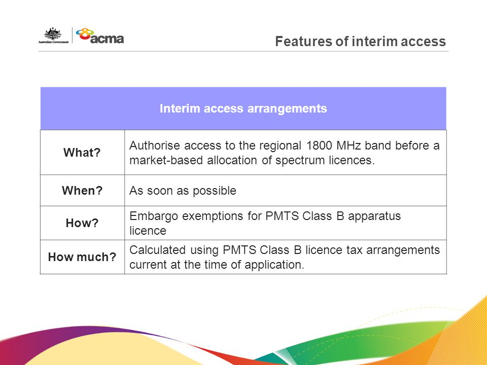 Features of interim access Interim access arrangements What.