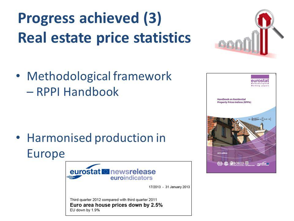 Progress achieved (3) Real estate price statistics Methodological framework – RPPI Handbook Harmonised production in Europe