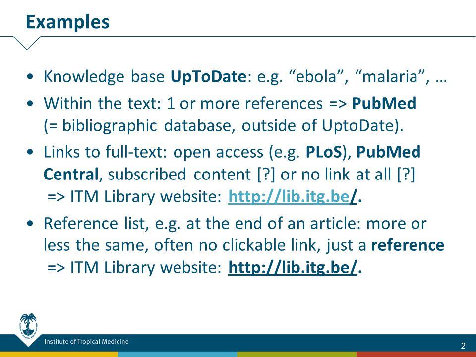 Knowledge base UpToDate: e.g.