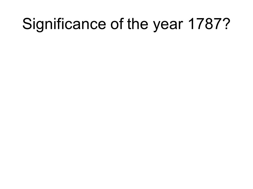 Significance of the year 1787?