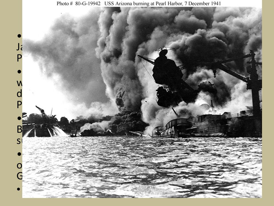 The Attack! On December 7th 1941 the first wave of Japanese airplanes left 6 aircraft carriers and struck Pearl Harbor a few minutes before 8 AM local