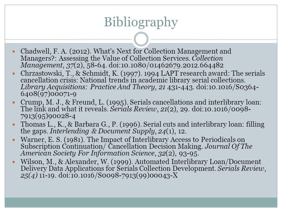 Bibliography Chadwell, F. A. (2012).