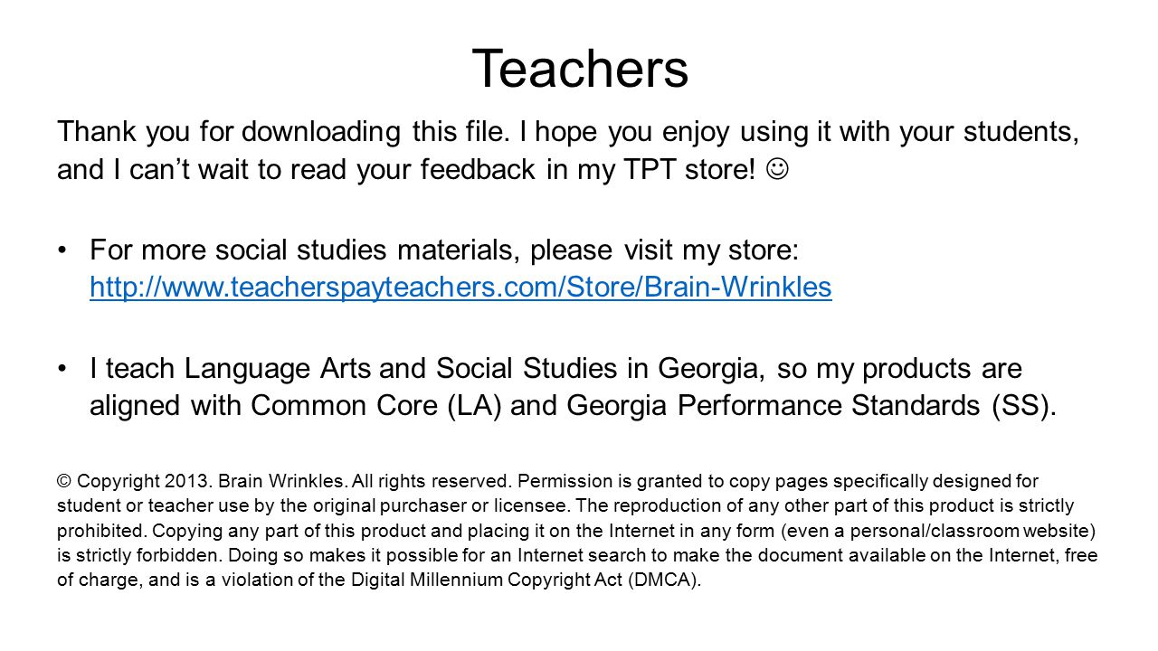 Teachers Thank you for downloading this file. I hope you enjoy using it with your students, and I can't wait to read your feedback in my TPT store! Fo
