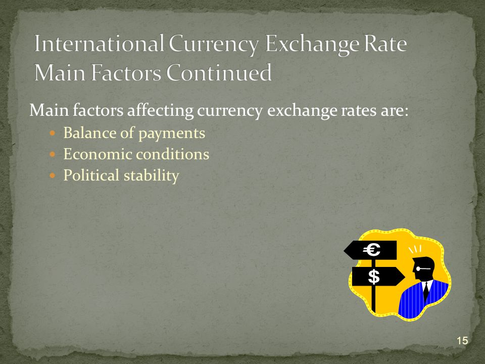 Main factors affecting currency exchange rates are: Balance of payments Economic conditions Political stability 15