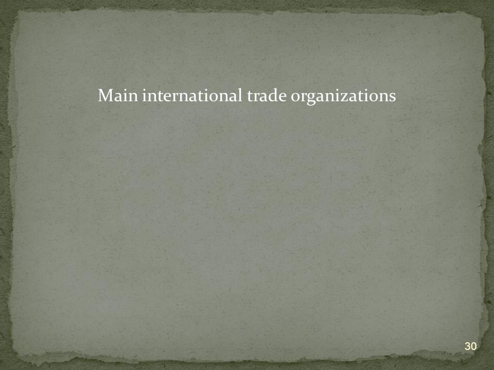 Main international trade organizations 30