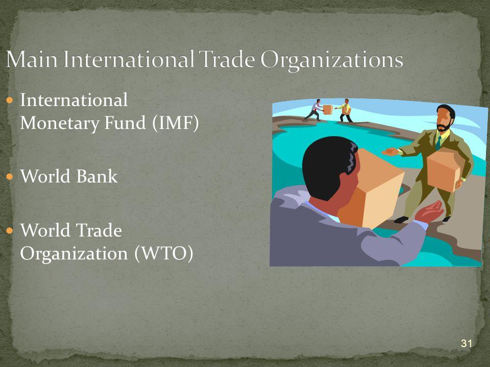31 International Monetary Fund (IMF) World Bank World Trade Organization (WTO)