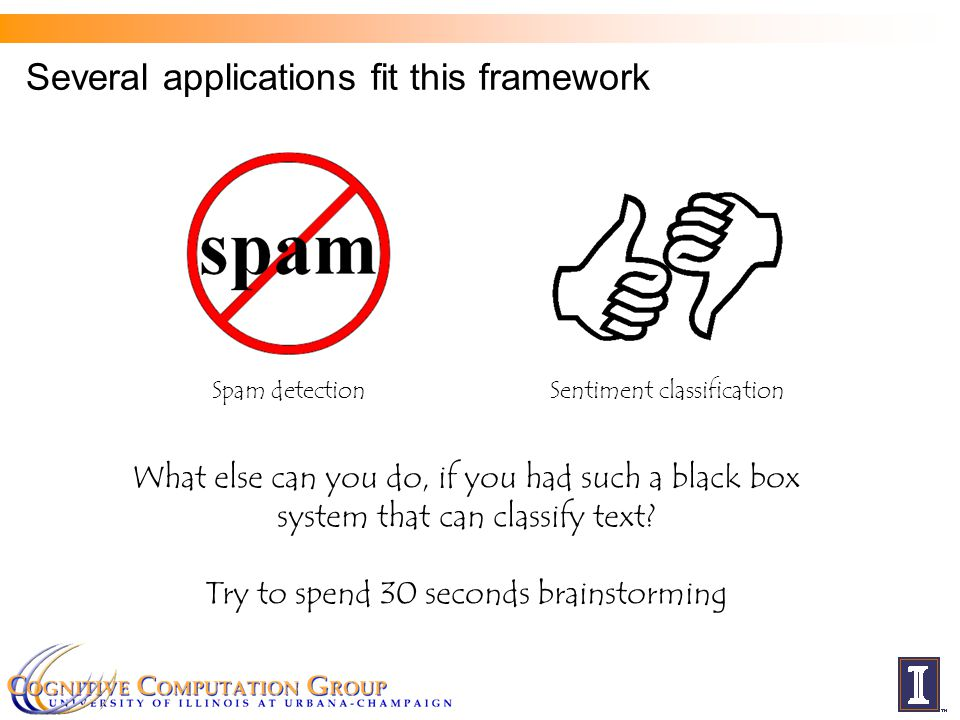 Several applications fit this framework Spam detection Sentiment classification What else can you do, if you had such a black box system that can clas