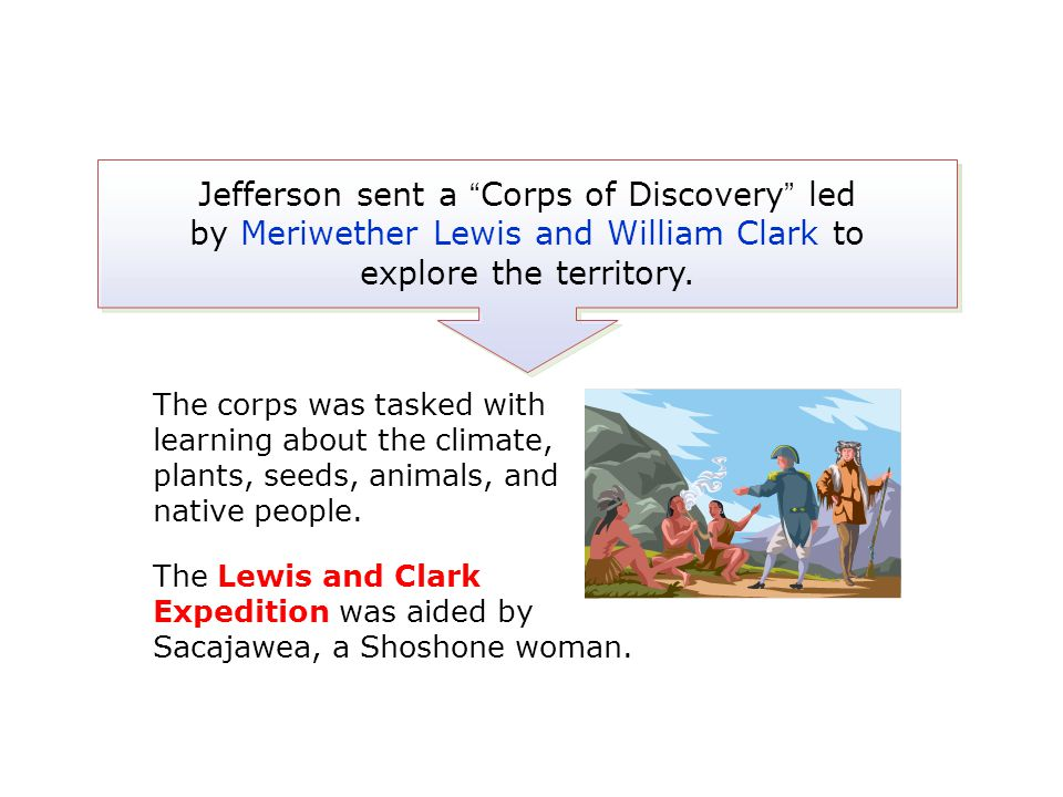 """Jefferson sent a """"Corps of Discovery"""" led by Meriwether Lewis and William Clark to explore the territory. The corps was tasked with learning about the"""