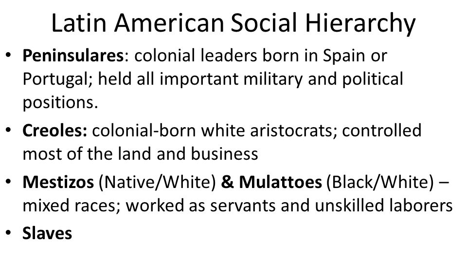 Latin American Social Hierarchy Peninsulares: colonial leaders born in Spain or Portugal; held all important military and political positions. Creoles