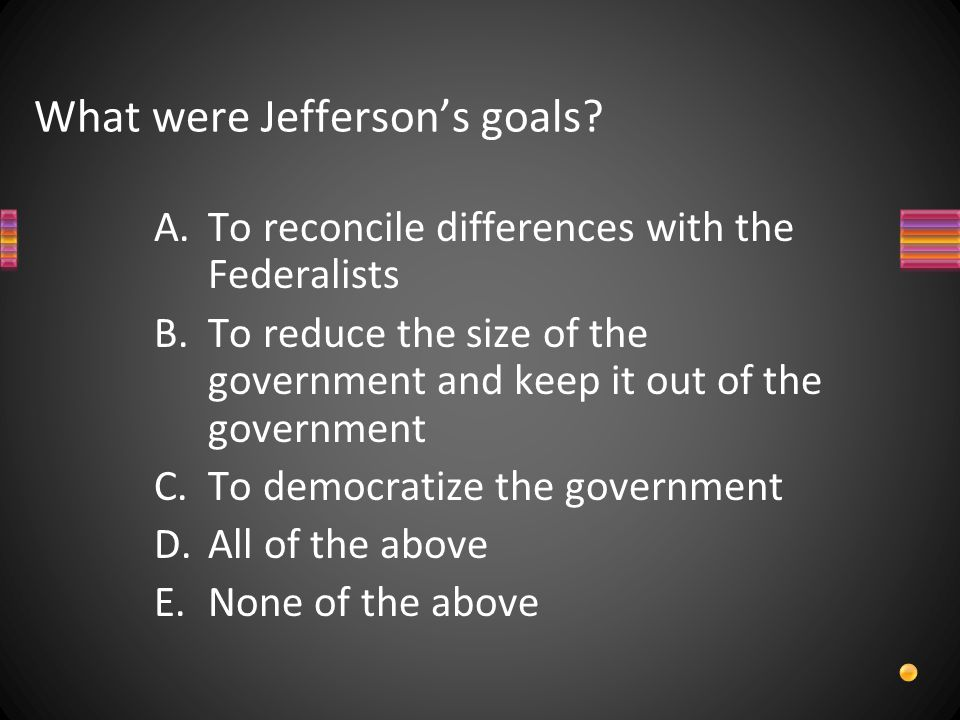 What were Jefferson's goals.