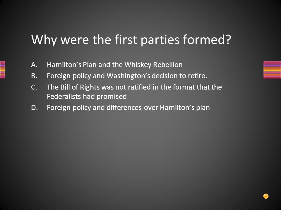 Why were the first parties formed.