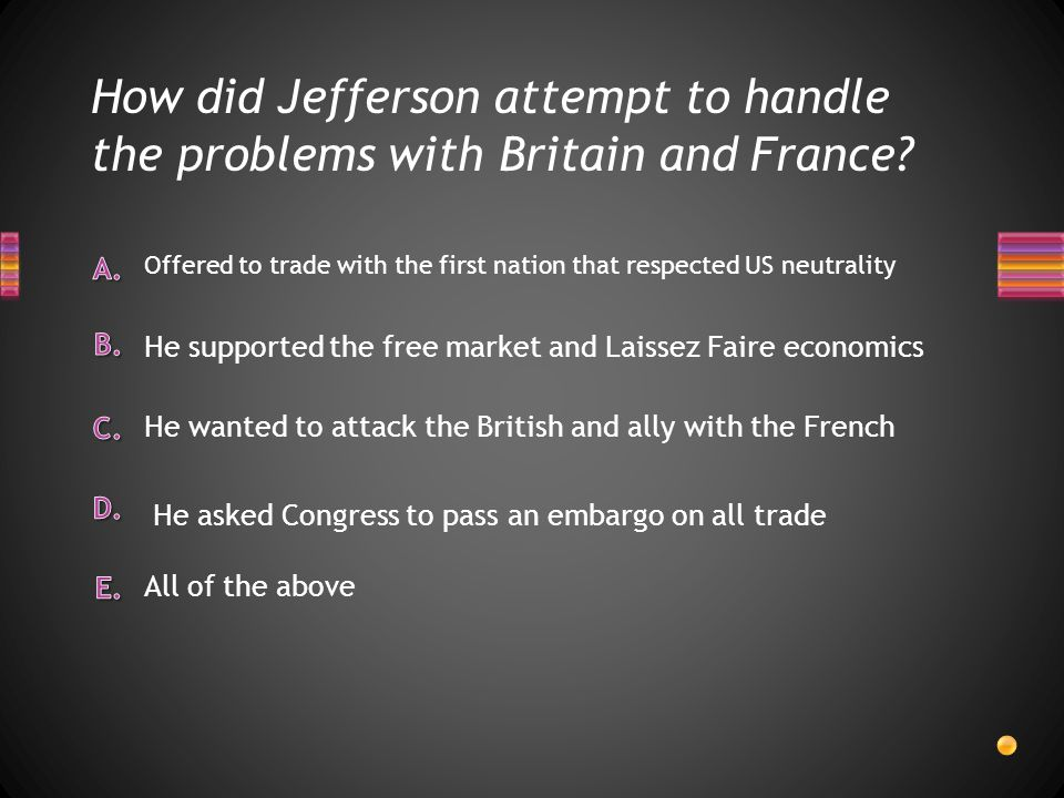 How did Jefferson attempt to handle the problems with Britain and France.
