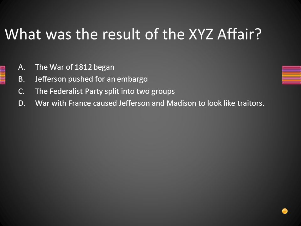 What was the result of the XYZ Affair.