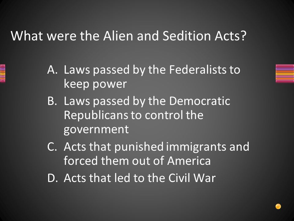 What were the Alien and Sedition Acts.