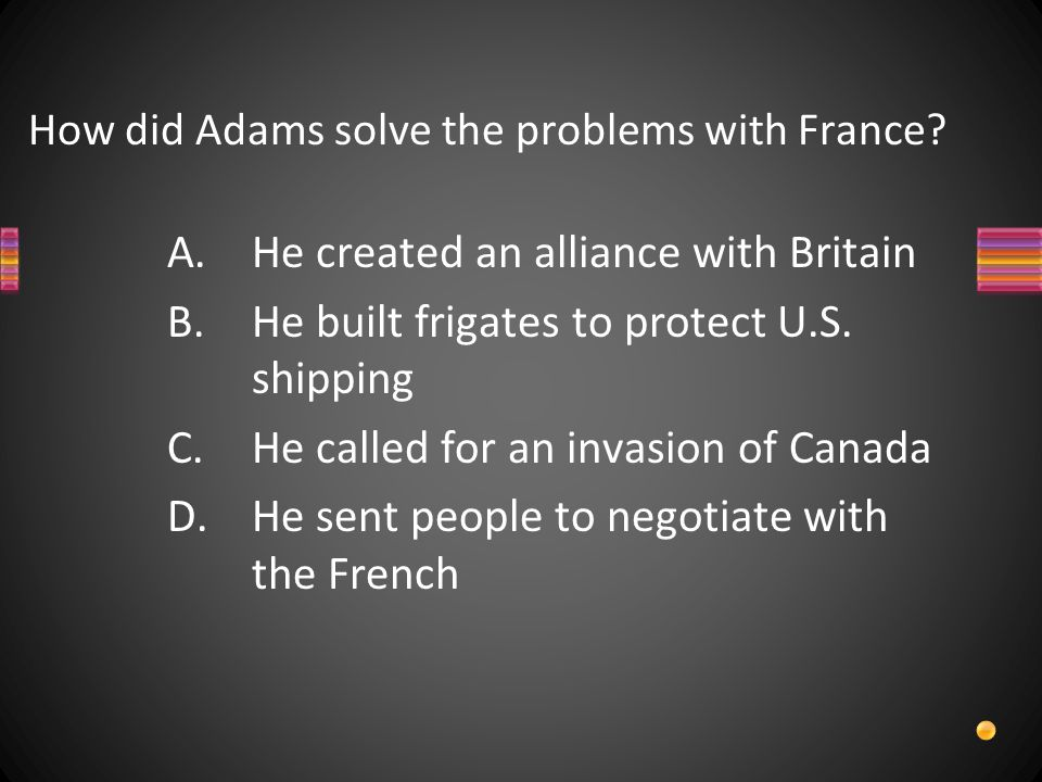 How did Adams solve the problems with France.
