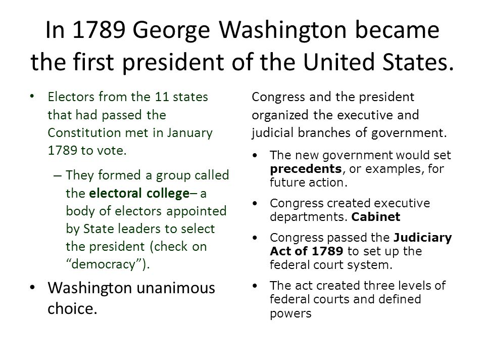 In 1789 George Washington became the first president of the United States. Electors from the 11 states that had passed the Constitution met in January