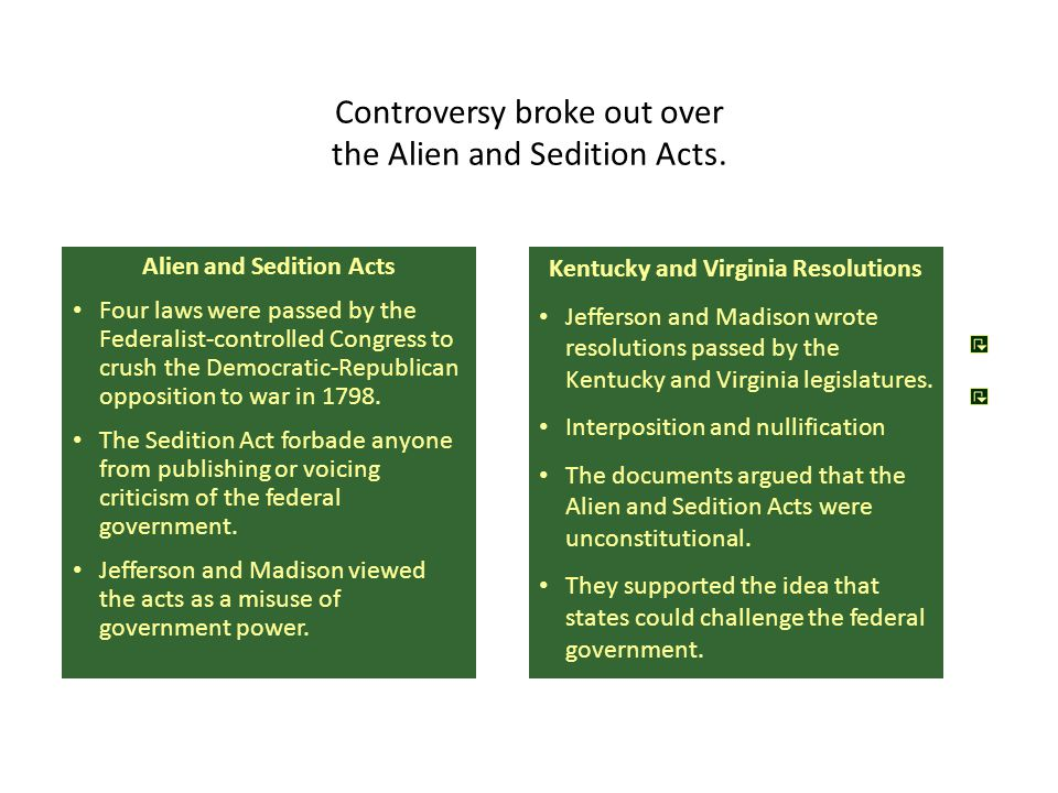 Alien and Sedition Acts Four laws were passed by the Federalist-controlled Congress to crush the Democratic-Republican opposition to war in 1798. The