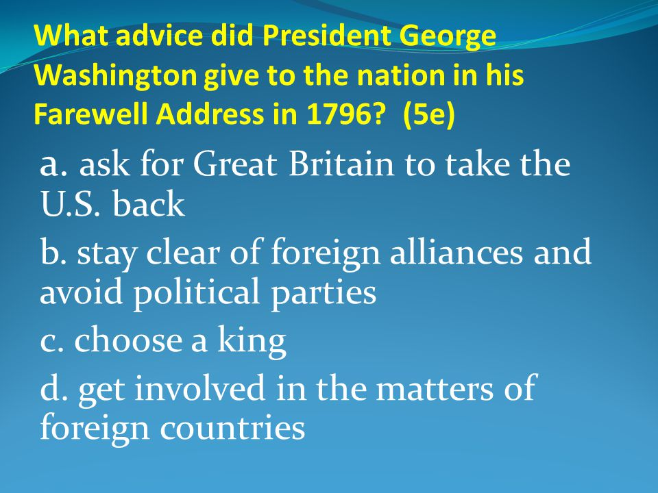 What advice did President George Washington give to the nation in his Farewell Address in 1796.