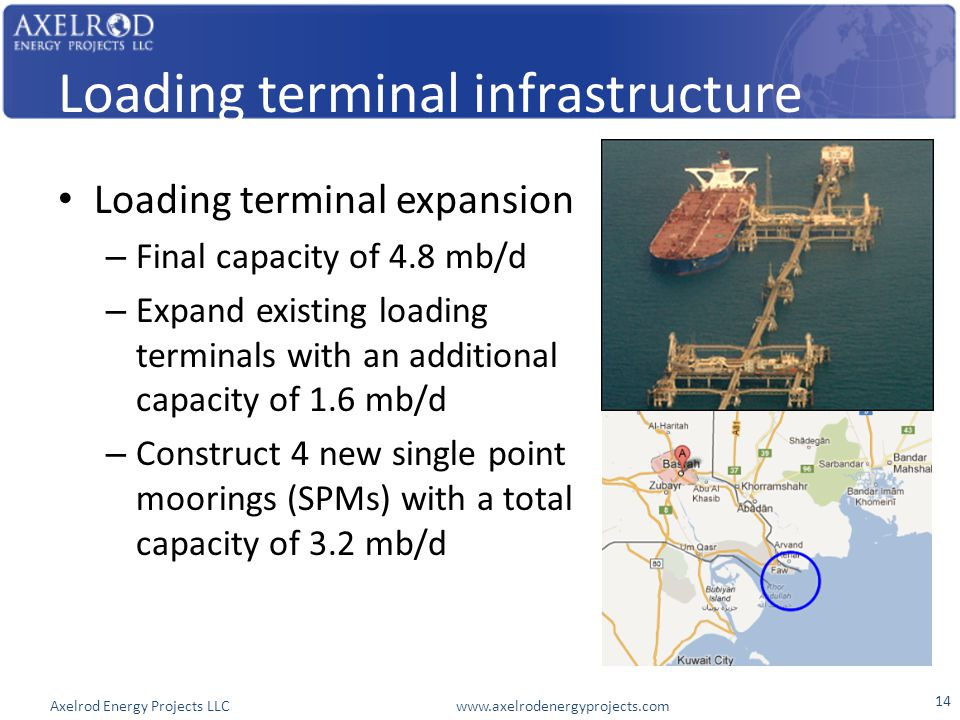 Axelrod Energy Projects LLC www.axelrodenergyprojects.com Loading terminal infrastructure Loading terminal expansion – Final capacity of 4.8 mb/d – Expand existing loading terminals with an additional capacity of 1.6 mb/d – Construct 4 new single point moorings (SPMs) with a total capacity of 3.2 mb/d 14