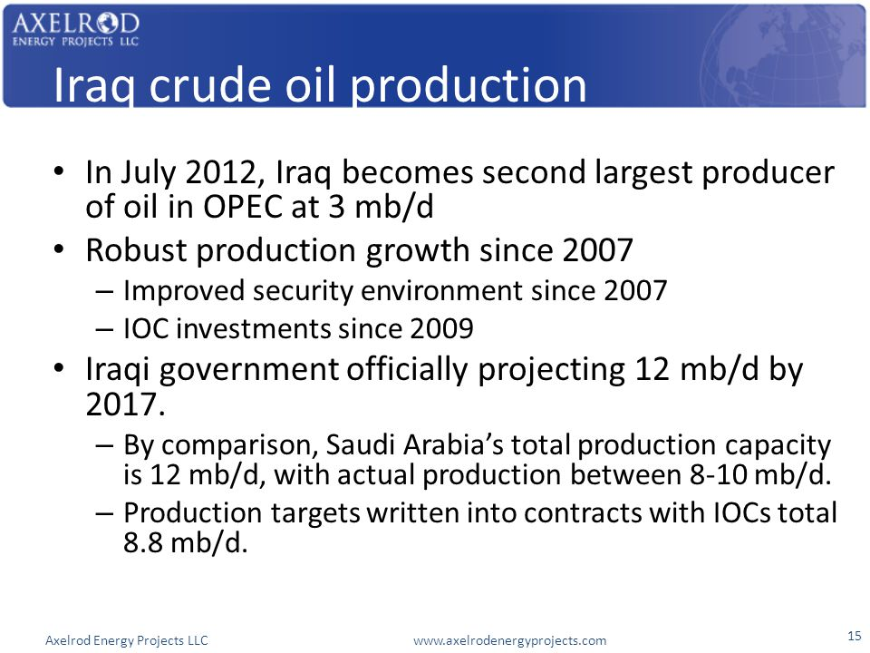 Axelrod Energy Projects LLC www.axelrodenergyprojects.com Iraq crude oil production In July 2012, Iraq becomes second largest producer of oil in OPEC at 3 mb/d Robust production growth since 2007 – Improved security environment since 2007 – IOC investments since 2009 Iraqi government officially projecting 12 mb/d by 2017.