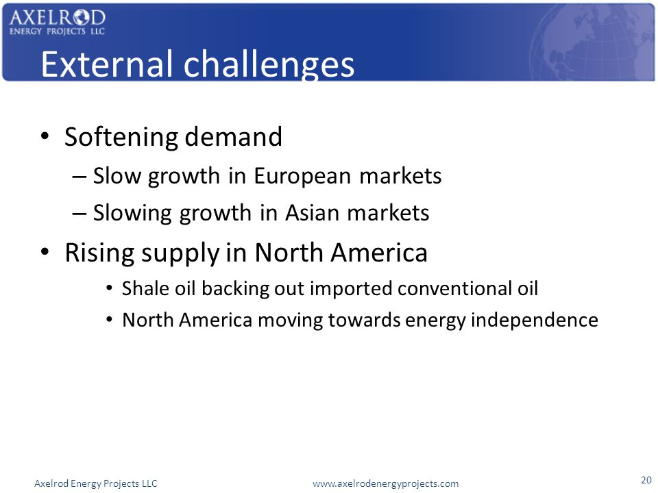 Axelrod Energy Projects LLC www.axelrodenergyprojects.com External challenges Softening demand – Slow growth in European markets – Slowing growth in Asian markets Rising supply in North America Shale oil backing out imported conventional oil North America moving towards energy independence 20
