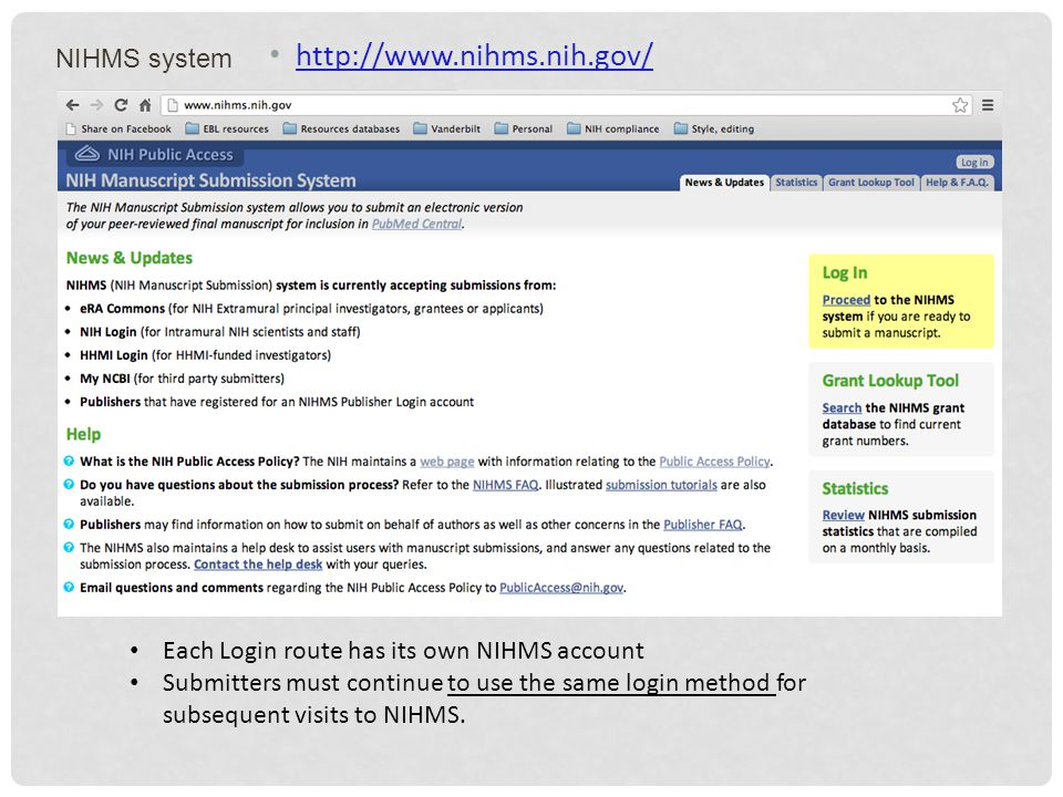 NIHMS system http://www.nihms.nih.gov/ Each Login route has its own NIHMS account Submitters must continue to use the same login method for subsequent visits to NIHMS.