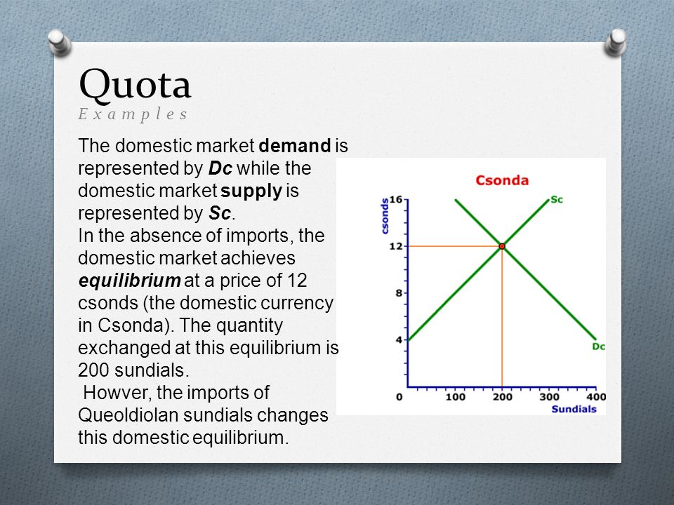 Quota The domestic market demand is represented by Dc while the domestic market supply is represented by Sc.