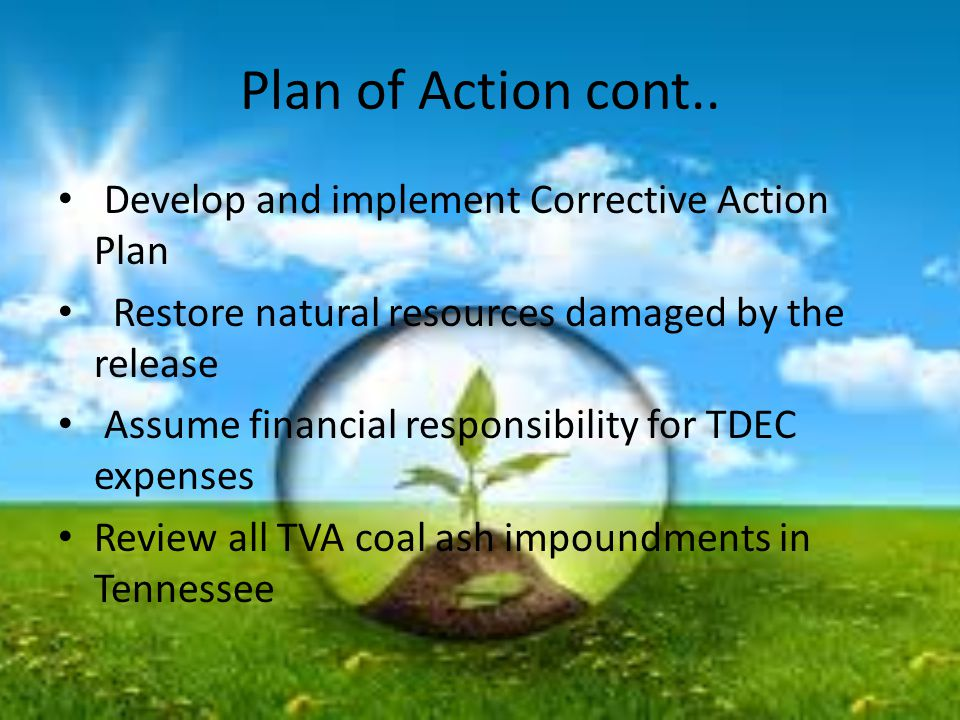 Plan of Action cont.. Develop and implement Corrective Action Plan Restore natural resources damaged by the release Assume financial responsibility fo