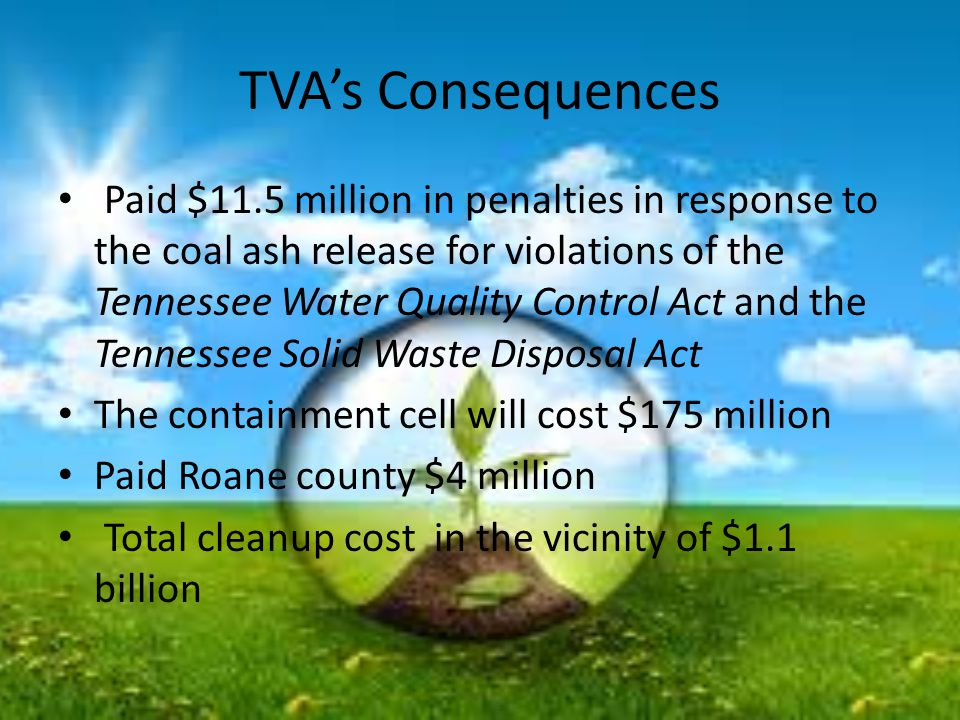 TVA's Consequences Paid $11.5 million in penalties in response to the coal ash release for violations of the Tennessee Water Quality Control Act and the Tennessee Solid Waste Disposal Act The containment cell will cost $175 million Paid Roane county $4 million Total cleanup cost in the vicinity of $1.1 billion