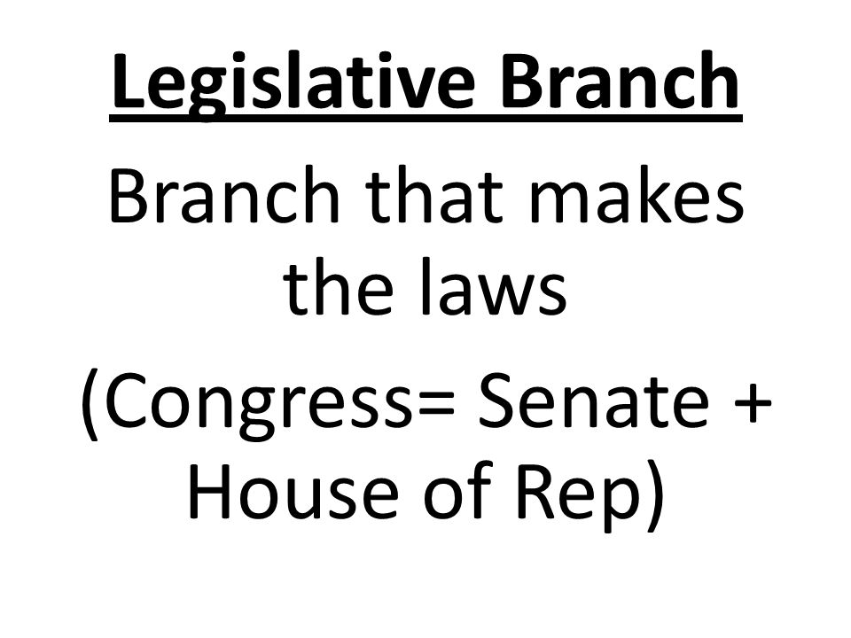 Legislative Branch Branch that makes the laws (Congress= Senate + House of Rep)