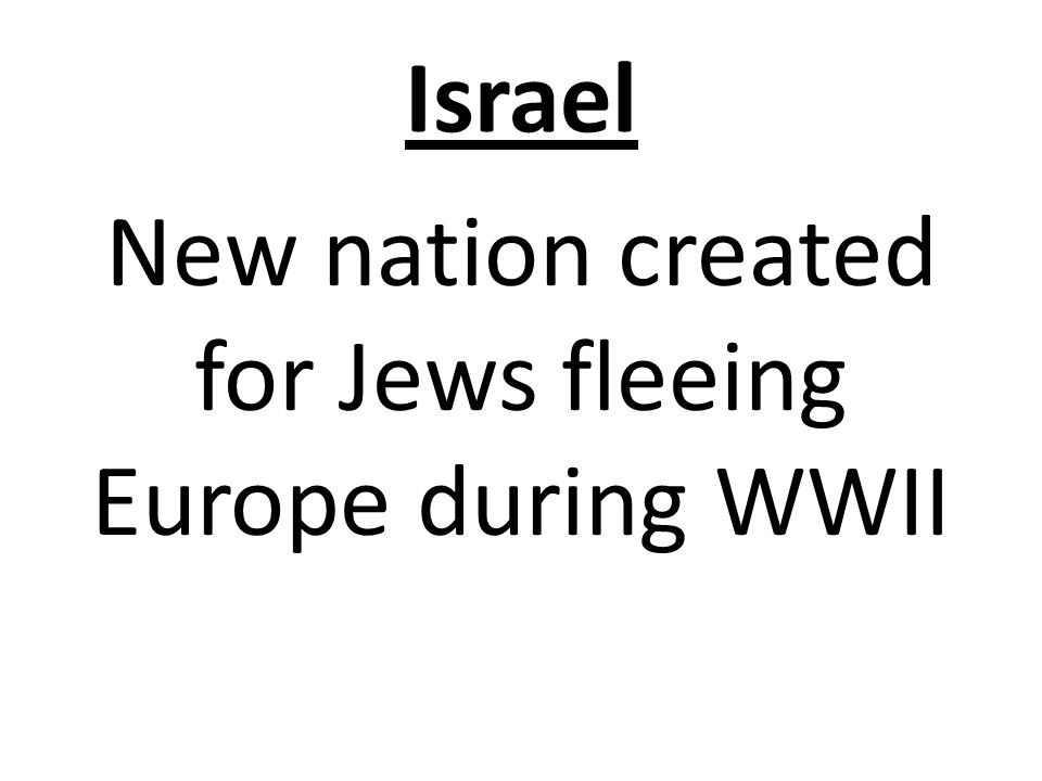 Israel New nation created for Jews fleeing Europe during WWII