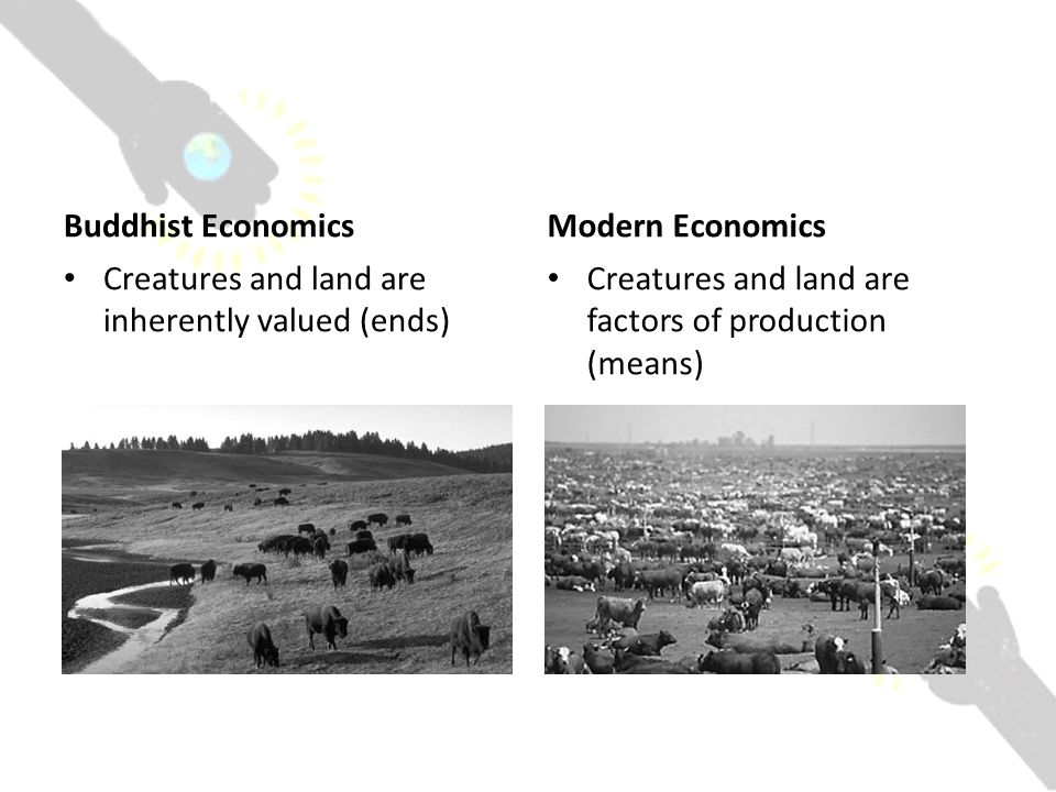 Buddhist Economics Creatures and land are inherently valued (ends) Modern Economics Creatures and land are factors of production (means)