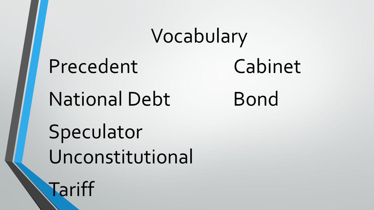 Vocabulary Precedent Cabinet National Debt Bond Speculator Unconstitutional Tariff