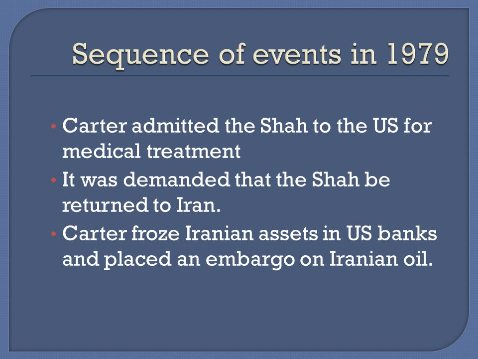 Carter admitted the Shah to the US for medical treatment It was demanded that the Shah be returned to Iran.