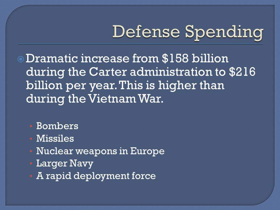  Dramatic increase from $158 billion during the Carter administration to $216 billion per year.