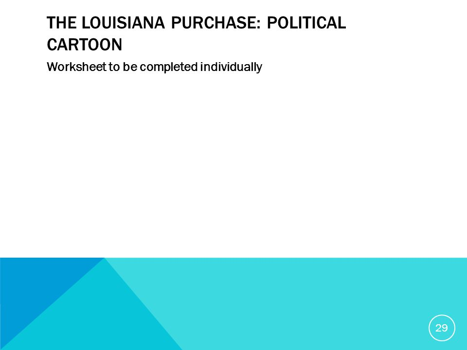 THE LOUISIANA PURCHASE: POLITICAL CARTOON Worksheet to be completed individually 29