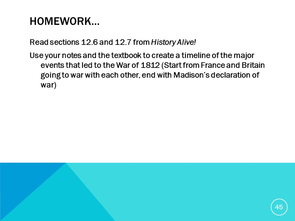 HOMEWORK… Read sections 12.6 and 12.7 from History Alive.