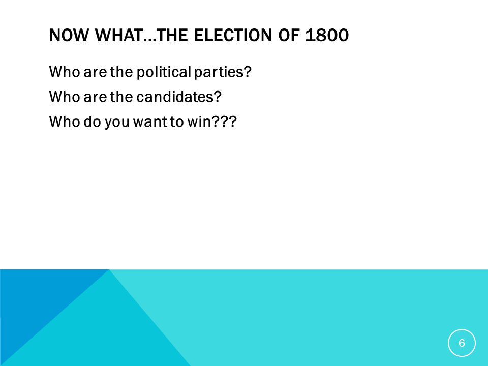 NOW WHAT…THE ELECTION OF 1800 Who are the political parties.